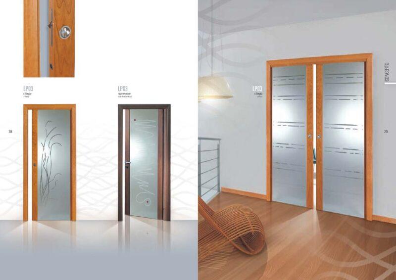 Porta scorrevole a due a ante con decorazioni su vetro opaco mdbportas - Decorazioni per porte interne ...