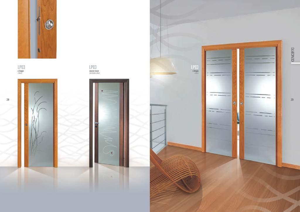 Porta scorrevole a due a ante con decorazioni su vetro - Porte interne in vetro scorrevoli ...