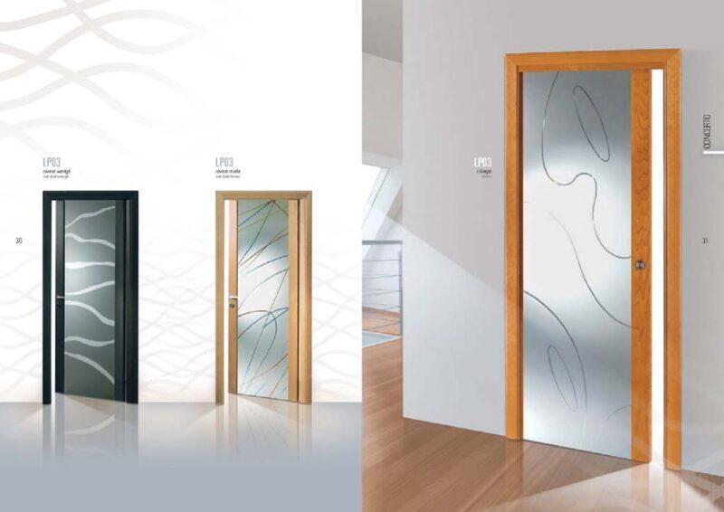 Porta scorrevole in Ciliegio con Vetro decorato curve - MdbPortas