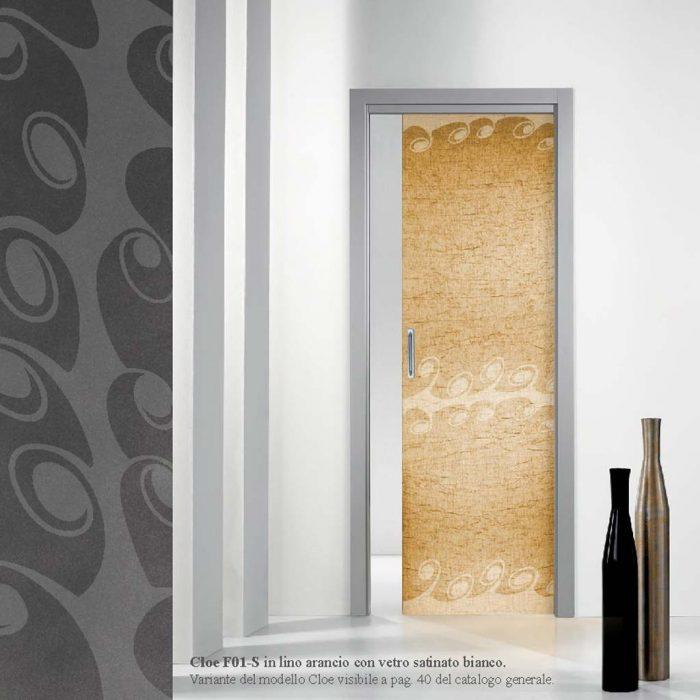 Porta scorrevole vetro satinato bianco in lino arancio - MDB Portas ...
