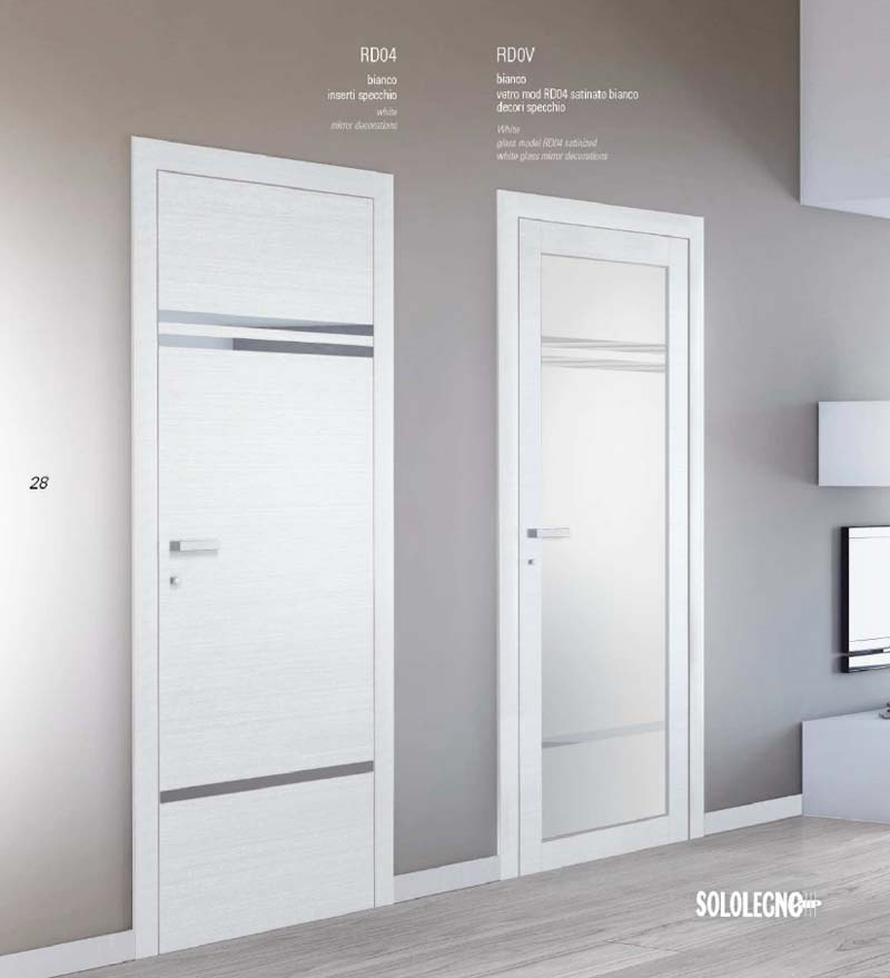Porta colore bianco con inserti e decori specchio - Porte con specchio ...