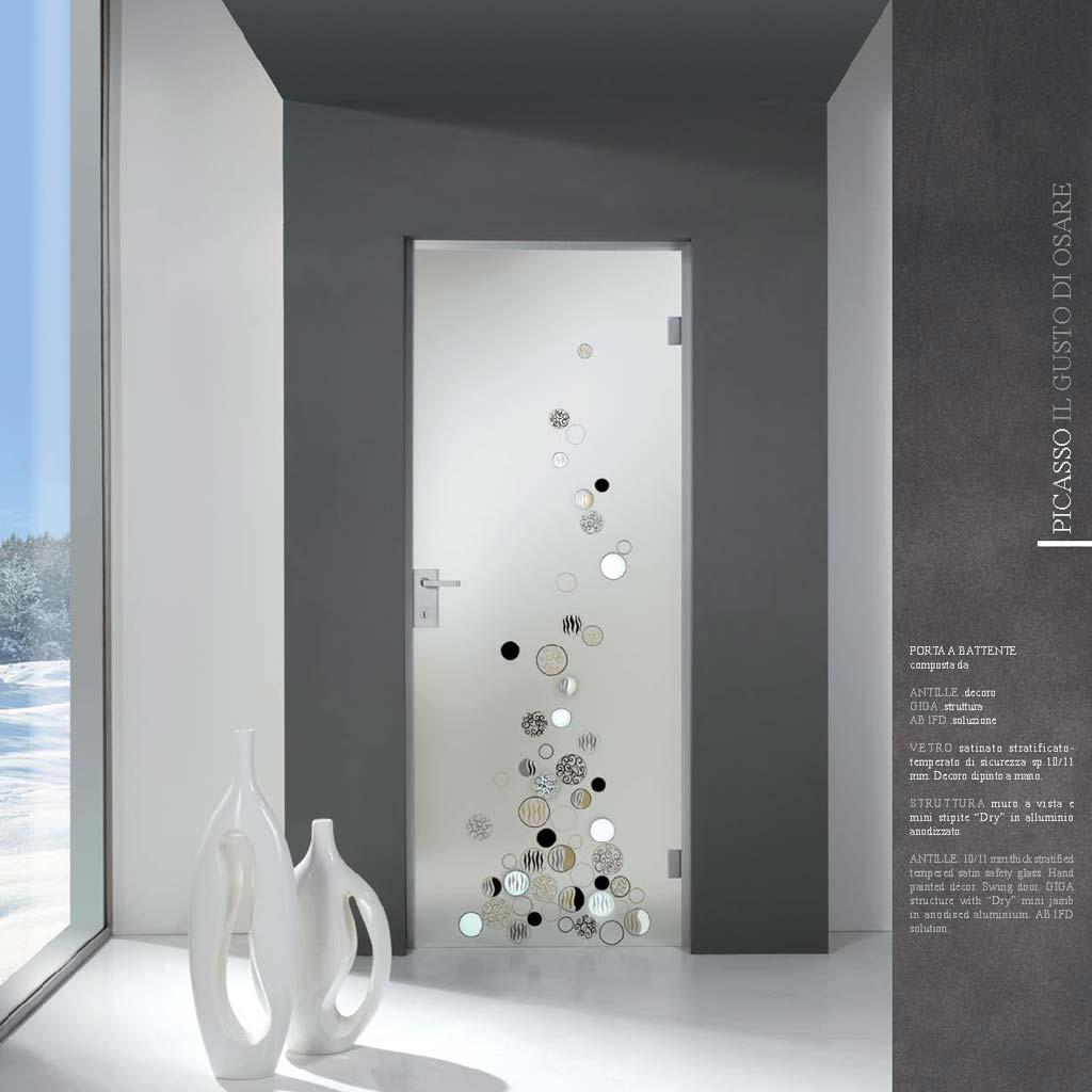 Porta decoro antille su vetro satinato mdbportas - Porte in vetro per bagno ...