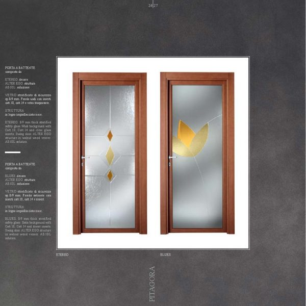 Porte Interne Con Vetro Decorato Artistico Mdb Portas Milano
