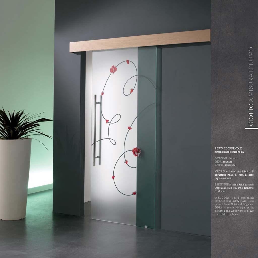 Porta scorrevole esterna con decoro melodia mdbportas for Decorazioni muro ikea