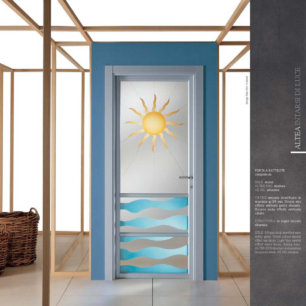 Porte decoro sole con vetro satinato mdbportas - Porte con vetro decorato ...