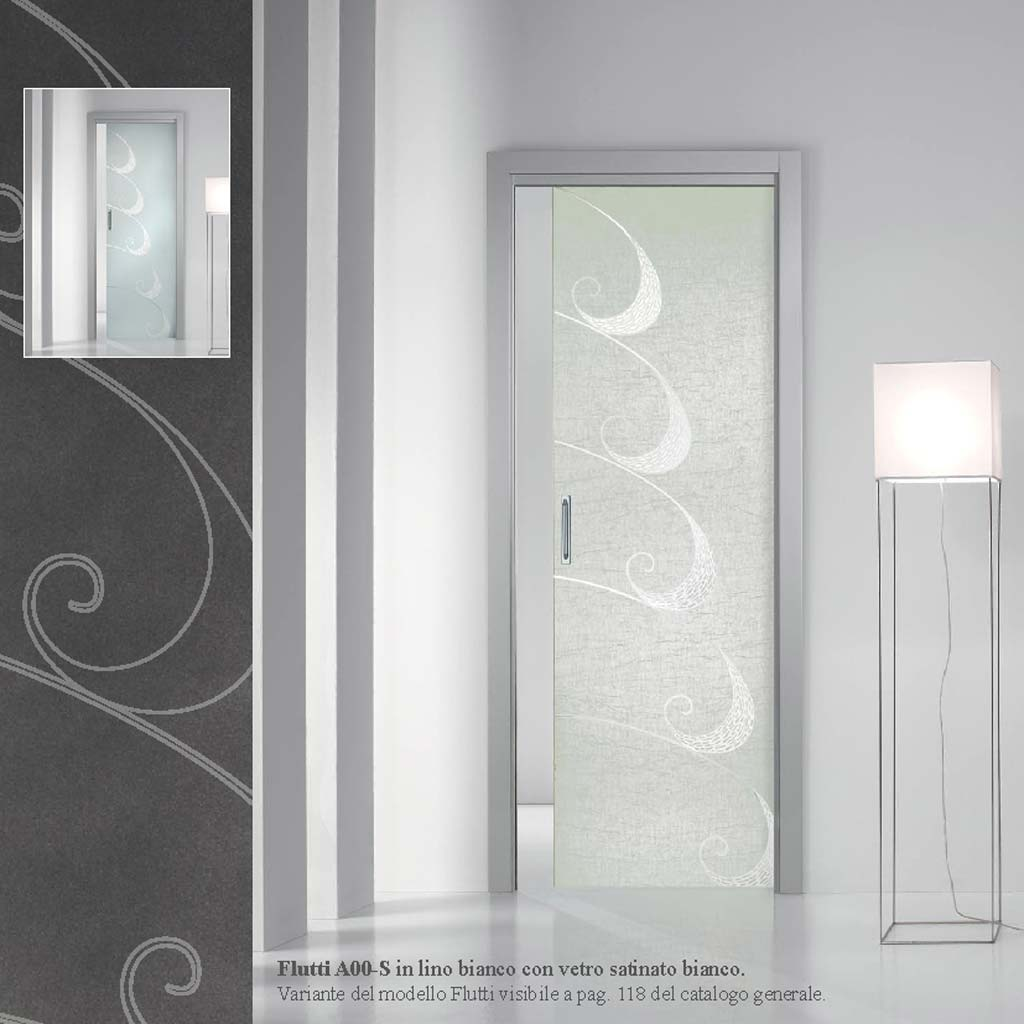 Porta flutti lino bianco con vetro satinato bianco - MdbPortas | MDB ...