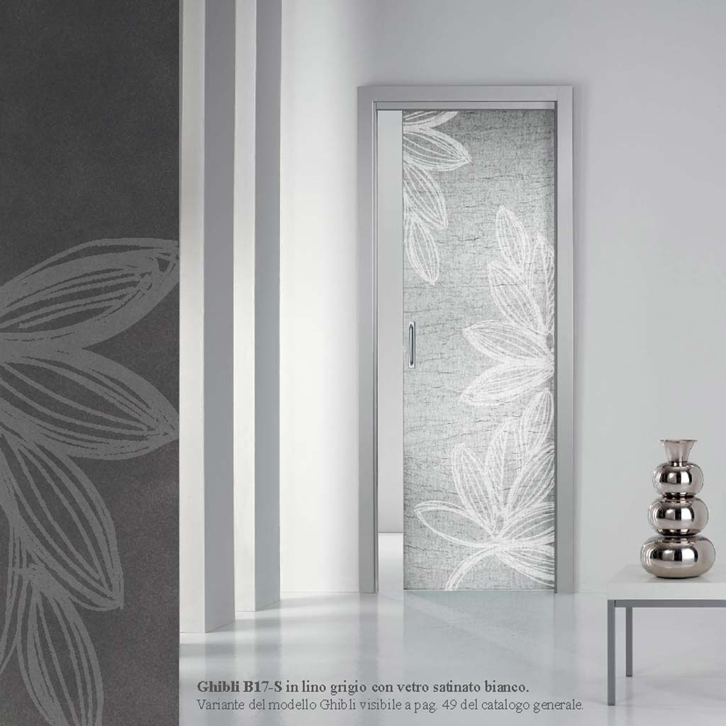 Porta Ghibli lino grigio con vetro satinato bianco - MdbPortas | MDB ...