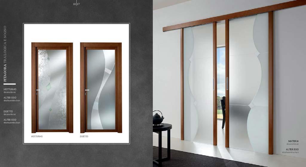 Porta scorrevole esterno muro a due ante in vetro da MDB Portas