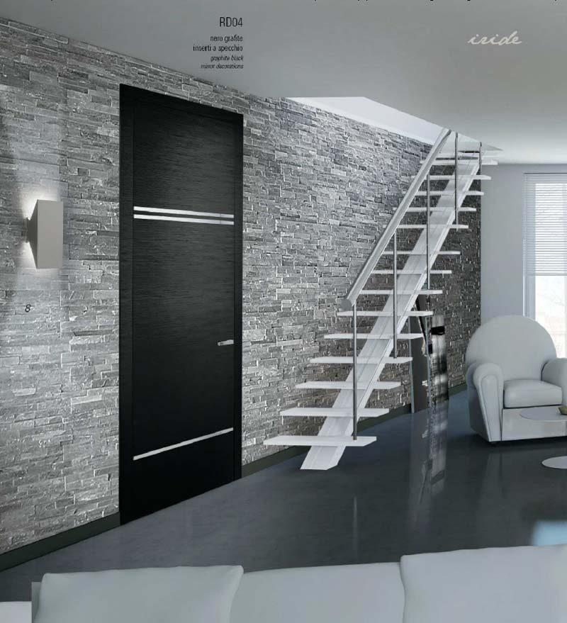 Porta in legno nero grafite con inserti a specchio mdb - Porta a specchio ...