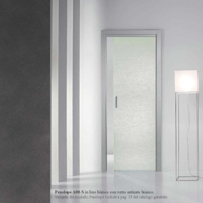 porta scorrevole in vetro satinato bianco - MDB Portas Nurith Milano