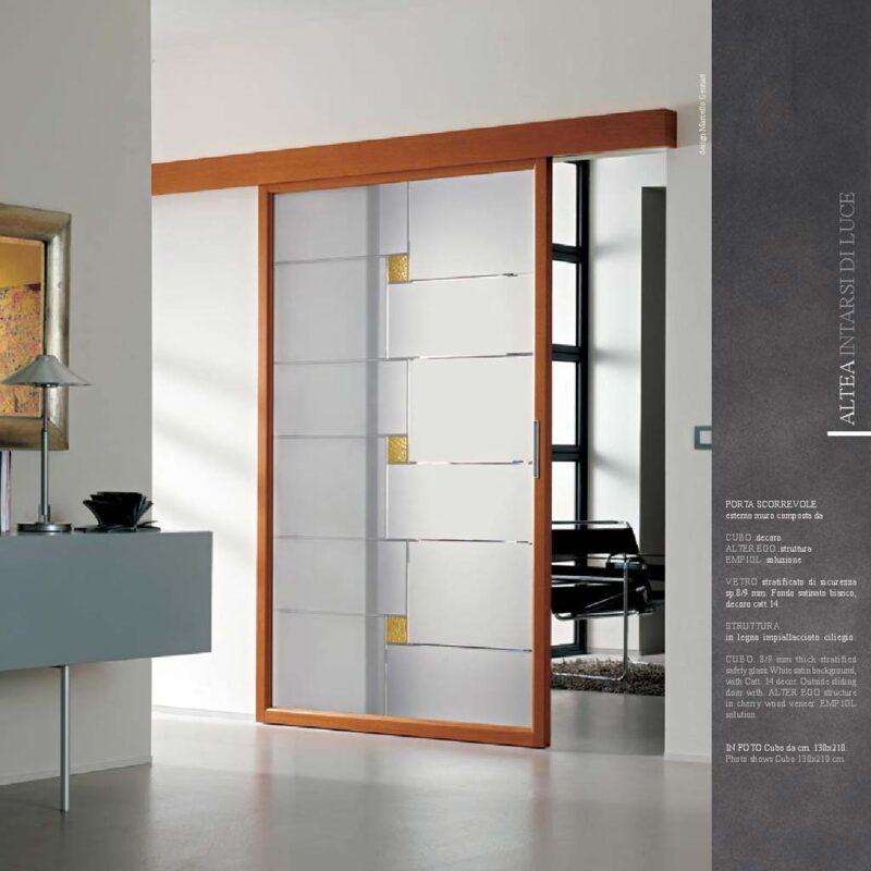 Porta scorrevole decoro Cubo legno impiallacciato - MdbPortas | MDB ...