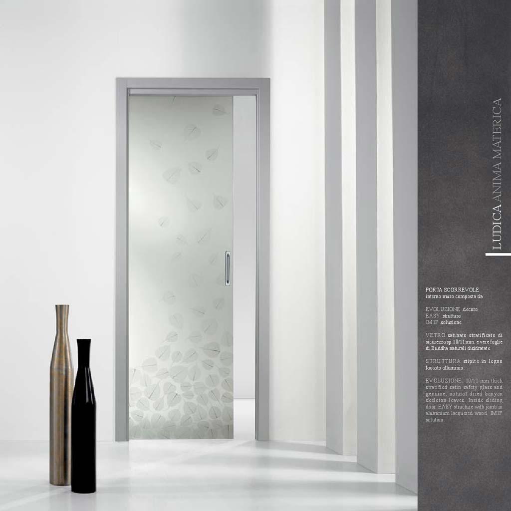 Porta decoro evoluzione con vetro satinato mdbportas - Porte interne in vetro scorrevoli ...