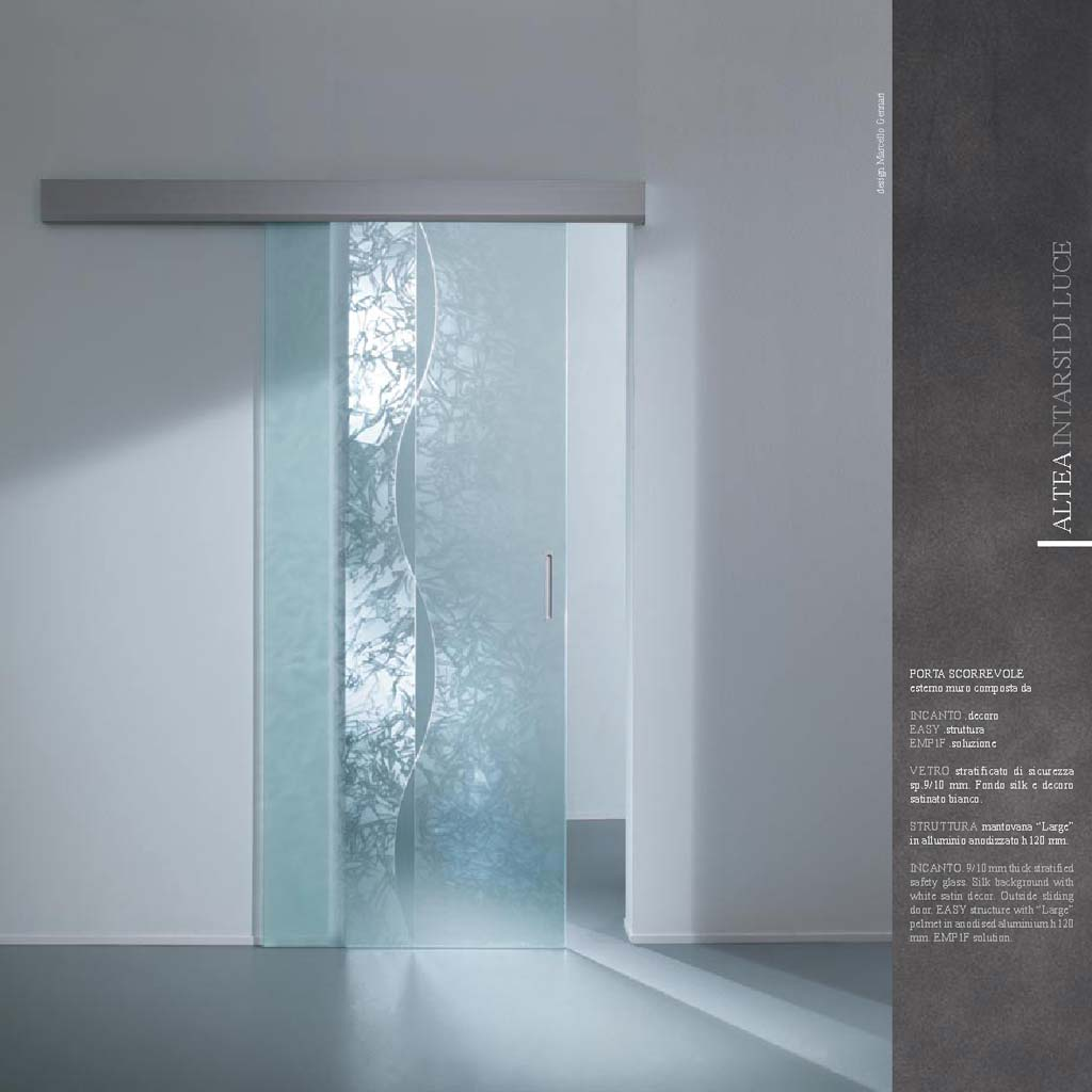 Porta scorrevole decoro Incanto vetro stratificato - MdbPortas | MDB ...
