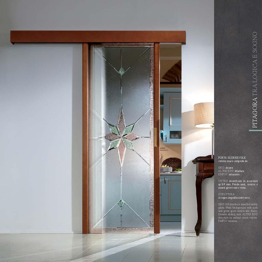 Porta scorrevole decoro oro legno noce mdbportas - Porta vetro scorrevole prezzo ...