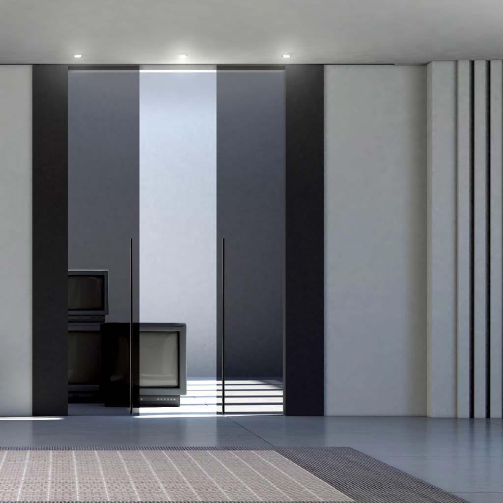 Porta scorrevole 2 ante vetro trasparente scuro mdbportas for Porte scorrevoli esterno muro economiche