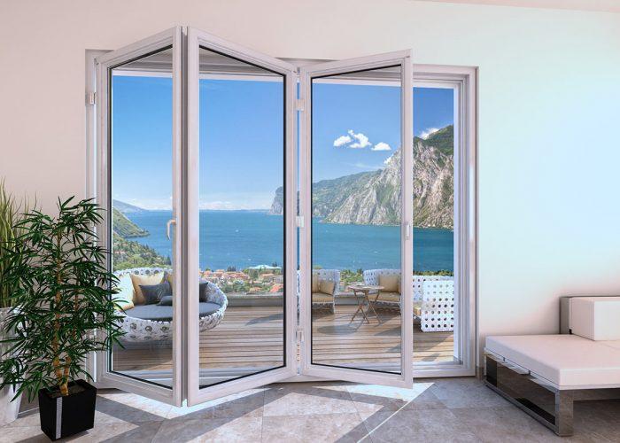 Porta finestra scorrevole a libro in pvc mdb portas nurith for Porte scorrevoli pvc