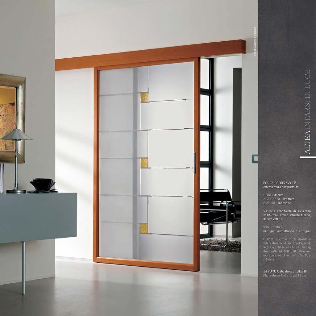 Porta scorrevole decoro cubo legno impiallacciato mdbportas - Porta scorrevole esterno muro prezzo ...