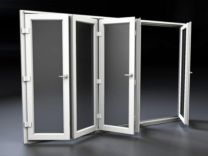 Porta finestra scorrevole a libro in pvc mdb portas nurith for Finestra basculante